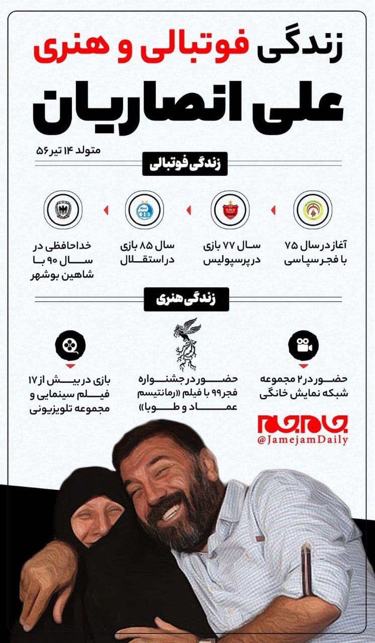زندگی فوتبالی و هنری مرحوم علی انصاریان+اینفوگرافیک