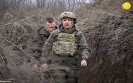 تصاویر دیده نشده از رئیس جمهور اوکراین در خط مقدم جنگ