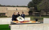 تصاویری از استقبال رئیس جمهور و نخست وزیر هند از روحانی /ادای احترام به گاندی