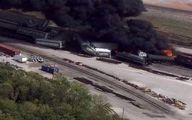 تصاویر انفجار در قطار حامل مواد شیمیایی خطرناک در آمریکا
