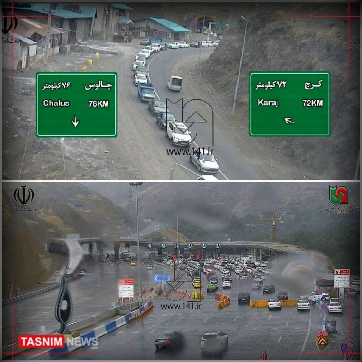 جدیدترین عکس از ترافیک سنگین جاده چالوس بعد از اعلام تعطیلی
