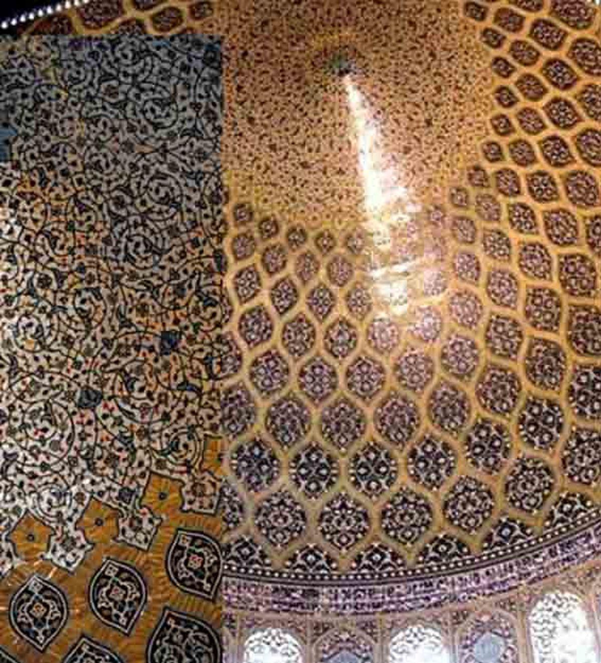راز طاووس نورانی در گنبد مسجد شیخ لطفالله اصفهان عکس