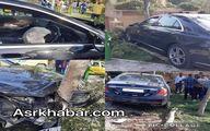تصادف شاخ به شاخ بنز S۵۰۰ جدید با درخت در تهران