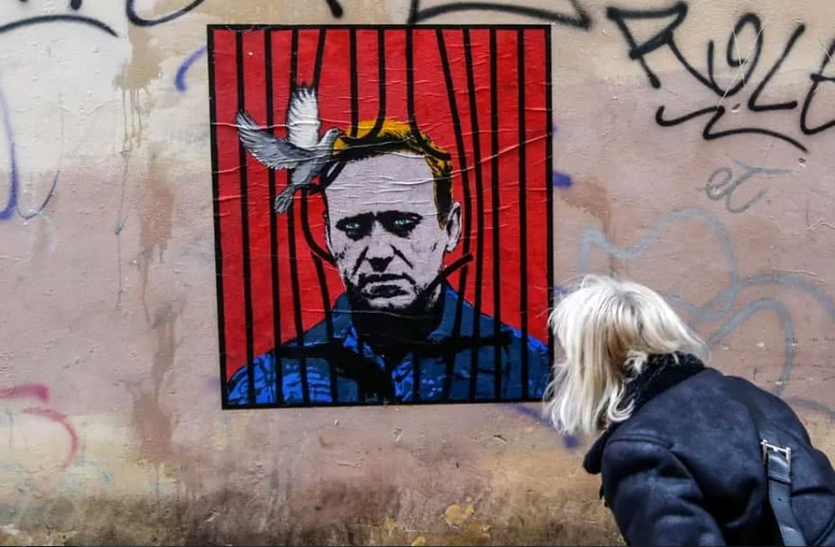 نقاشی دیواری زیبا از چهره الکسی ناوالنی در رم+عکس