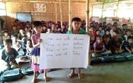 همدردی کودکان میانمار با کوچکترین شهید اهواز / عکس