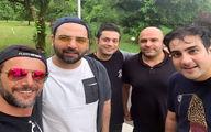 امین حیایی همراه با احسان علیخانی با تیپ کمتر دیده شده