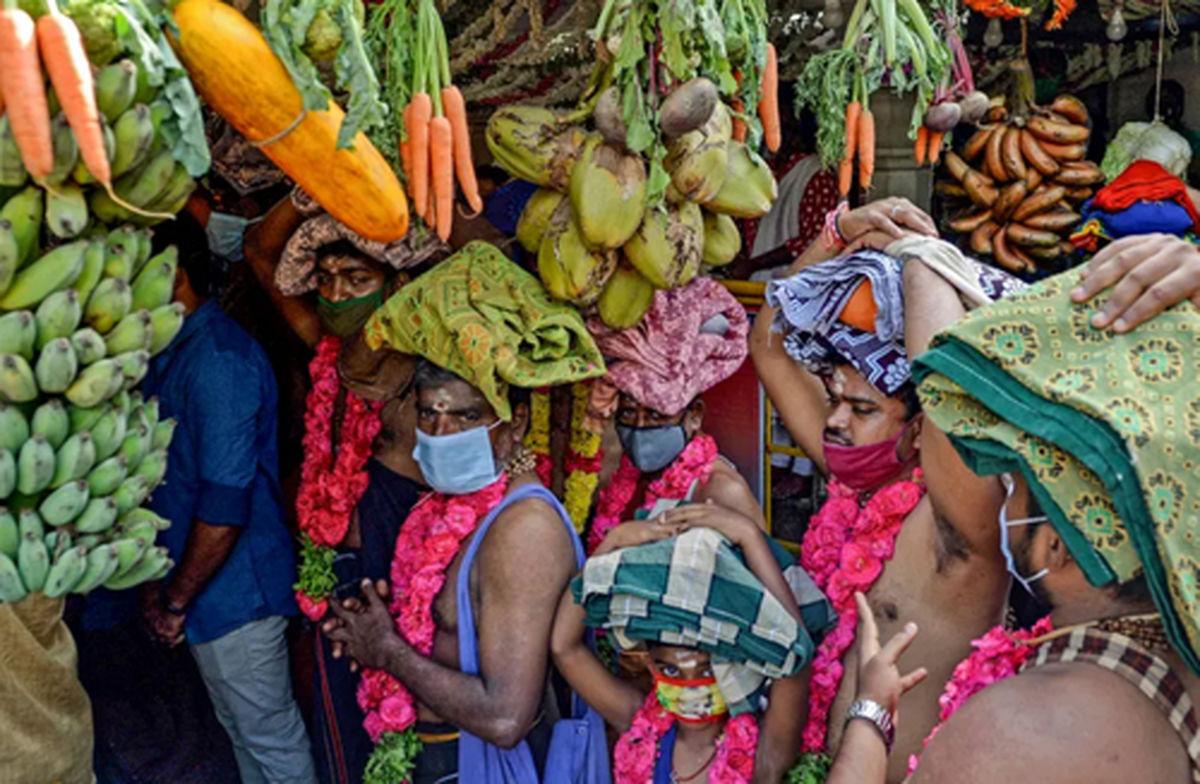 عکس دیده نشده از جشنواره آیینی هندوها و هدایای آنها به معبد