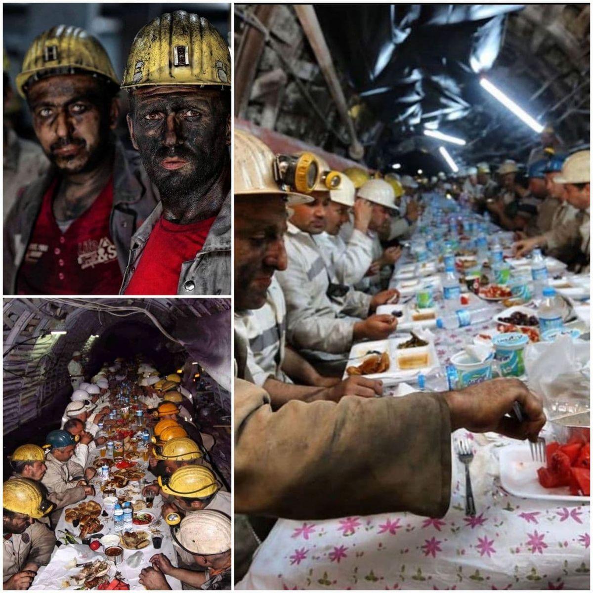 افطار کارگران معدن در عمق ۶۳۰ متری زمین +عکس