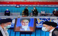 عکس| لحظه تنفیذ ابراهیم رئیسی به عنوان رئیس جمهور توسط رهبر انقلاب