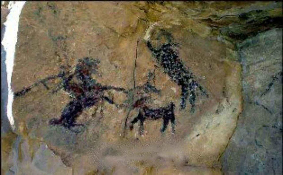 عکس قدیمیترین نقاشی جهان در غار خرمآباد
