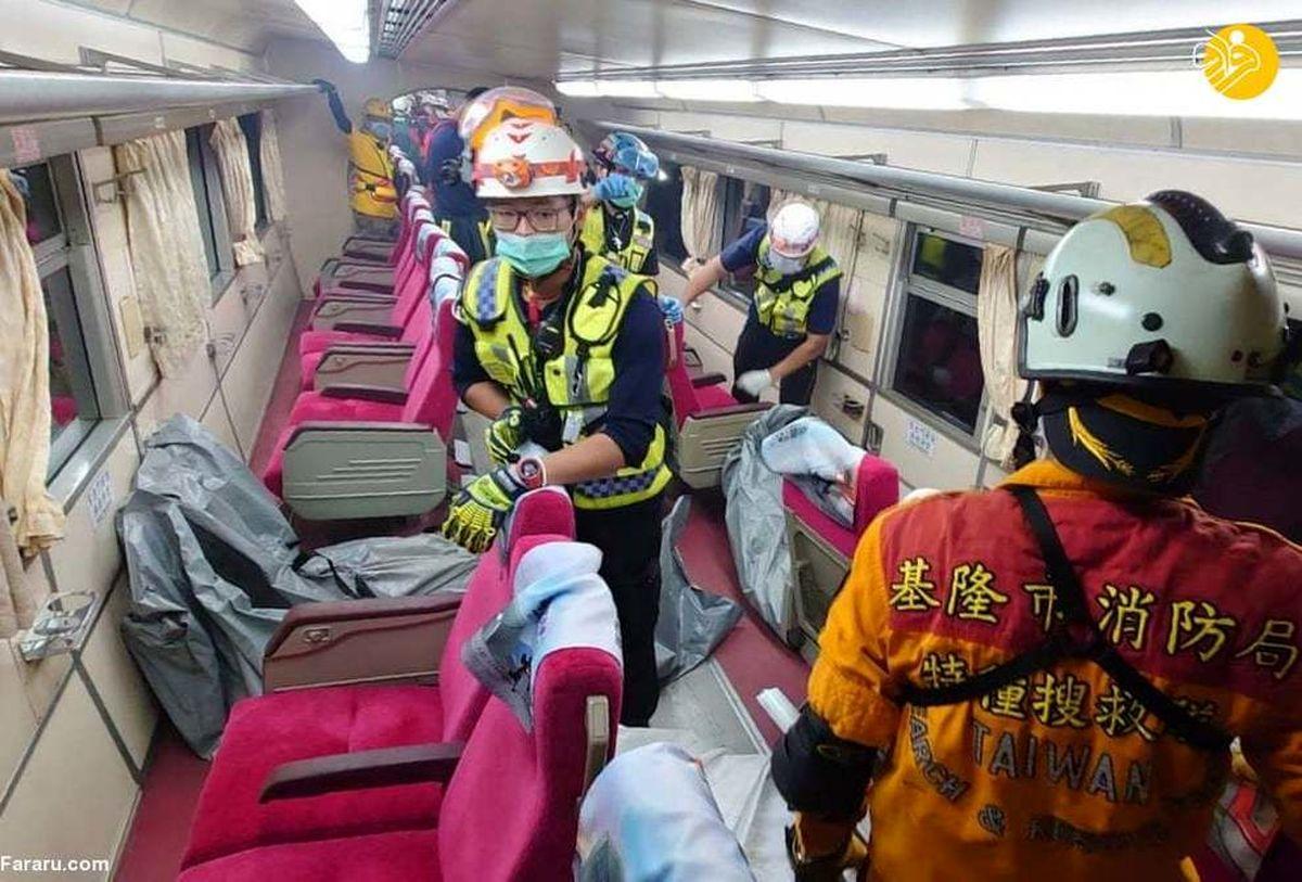 خروج مرگبار قطار از ریل در تایوان خبرساز شد+عکسها