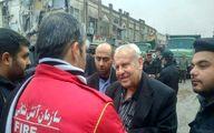 سفیر فلسطین در محل حادثه پلاسکو/عکس