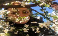 خانم بازیگر و همسرش در میان شکوفه های بهاری + عکس