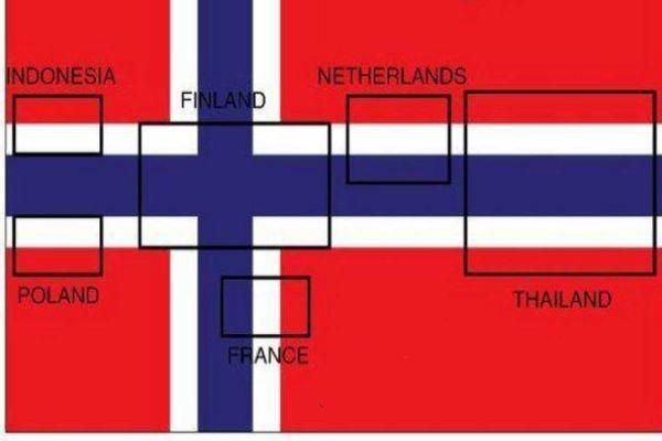 پرچم شش کشور در پرچم نروژ دیده میشود،ببینید|عکس
