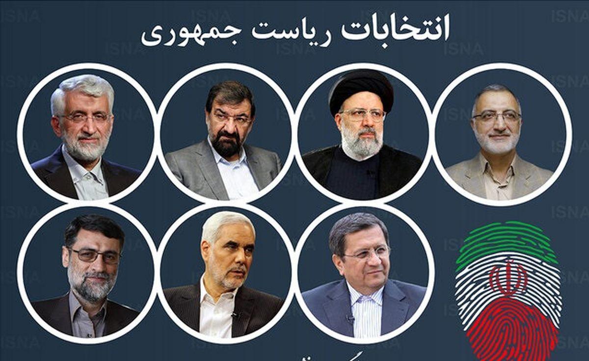 برنامه تبلیغاتی نامزدهای انتخابات ریاست جمهوری 1400 امروز