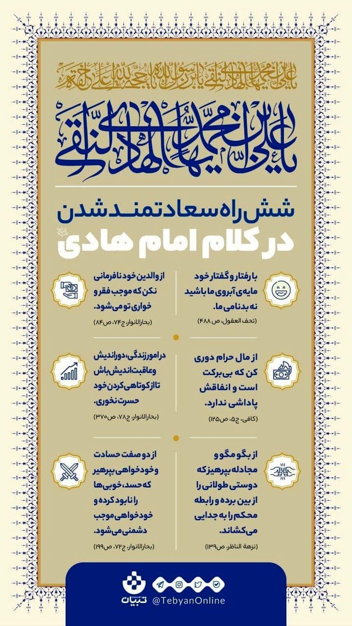 زندگی سعادتمندانه در کلام امام هادی علیه السلام+اینفوگرافیک