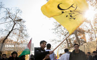 تجمع ضد آمریکایی دانشآموزان مقابل سفارت سوییس/تصاویر