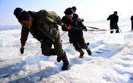 بریدن بلوکهای یخی برای گردشگران چین /تصاویر