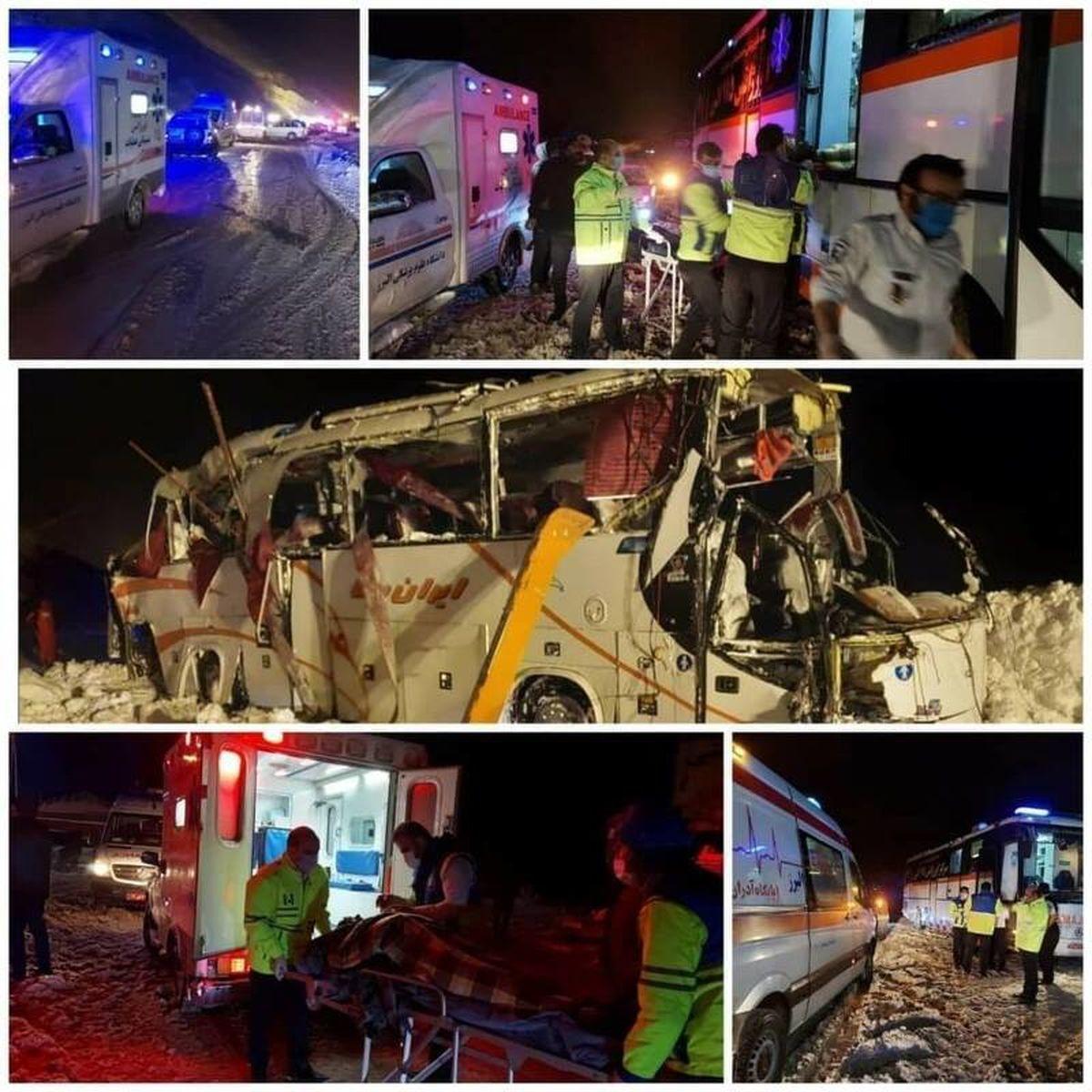 تصاویر دیده نشده از واژگونی اتوبوس در جاده کرج-چالوس